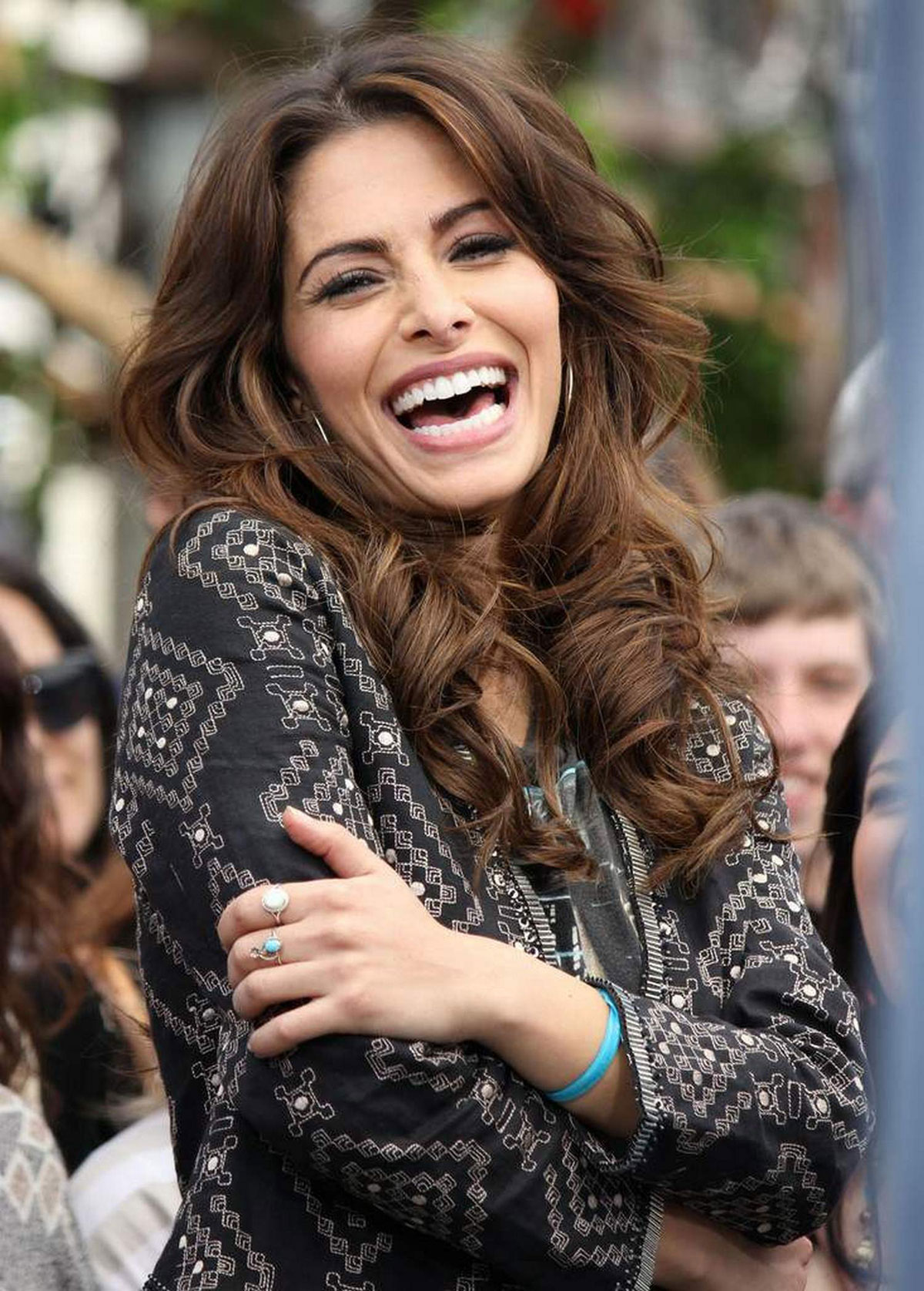 SARAH SHAHI On The Set Of Extra At The Grove