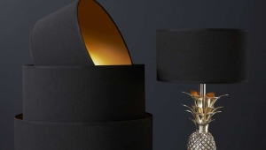 Black Drum Lamp Shade Gold Lining