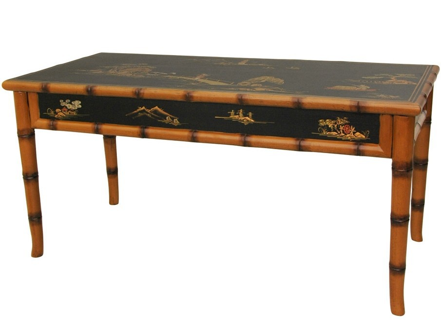 Asian Coffee Table Decorated With Gold Painting