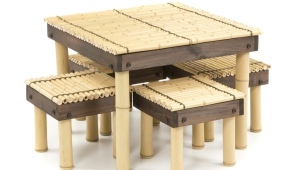 Bamboo Coffee Table With Four Stools