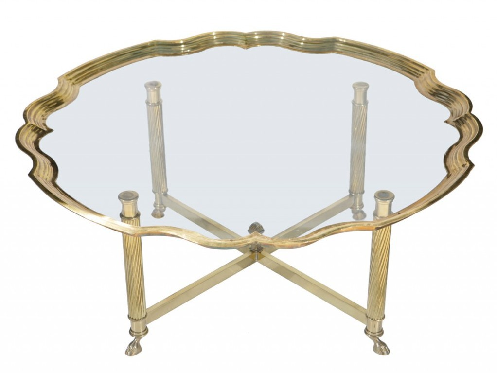 Brass Coffee Table With X Base