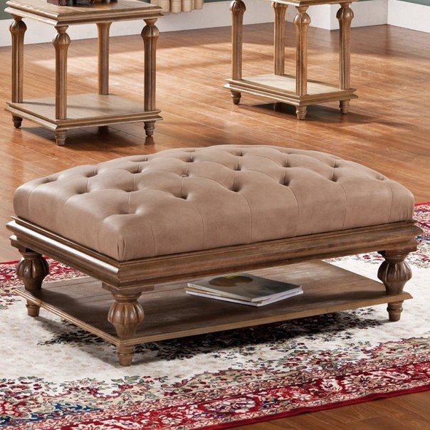 Brown Upholstered Coffee Table