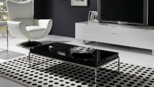 Chrome Coffee Table With Black Lacquer Top