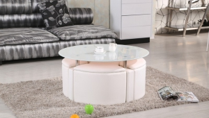 Chrome Glass Ottoman Coffee Table