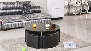 Chrome Glass Ottoman Coffee Table In Black