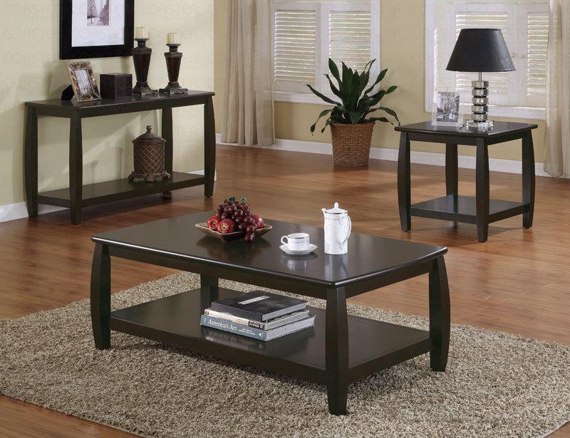 Coffee Table Set With Dark Wood Finish