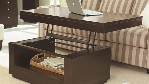 Coffee Table Transformed Into Working Area