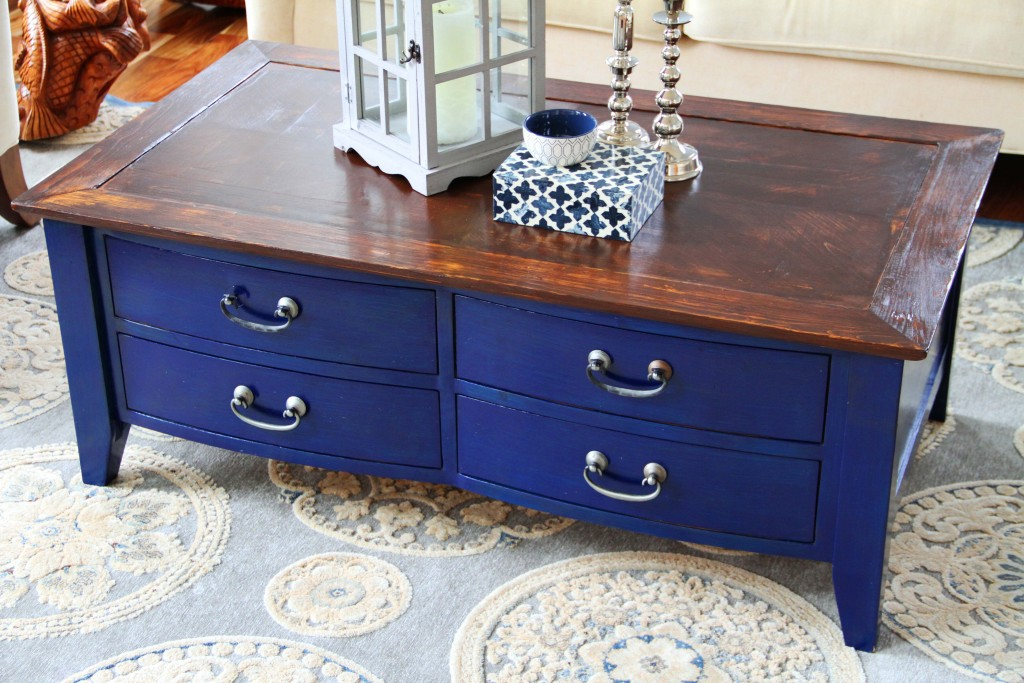 Coffee Table With Blue Drawers