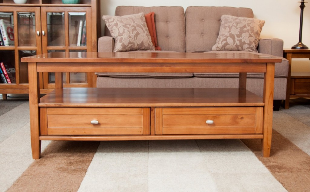 Coffee Table With Drawers And Shelf
