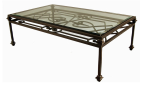Coffee Table With Double Iron Wrought And Glass Top