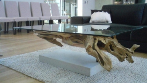 Coffee Table With Driftwood Fake Base