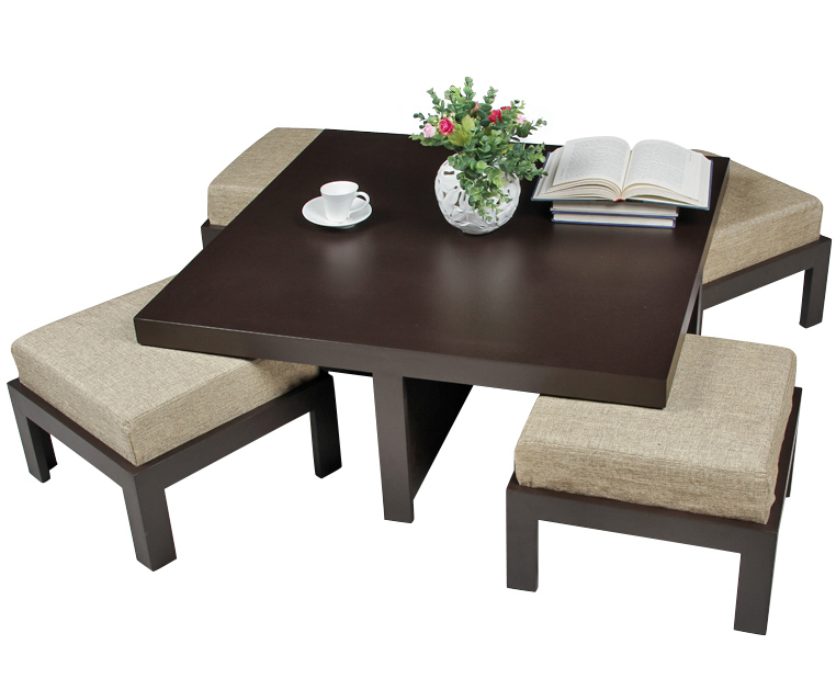Coffee Table With Pouf Stools