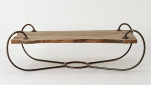 Coffee Table With Wooden Top And Curved Metal Base