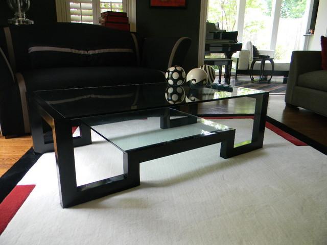 Contemporary Black Lacquer Coffee Table