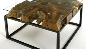 Contemporary Rustic Coffee Table With Glass