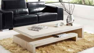 Contemporary Sleek Marble Coffee Table