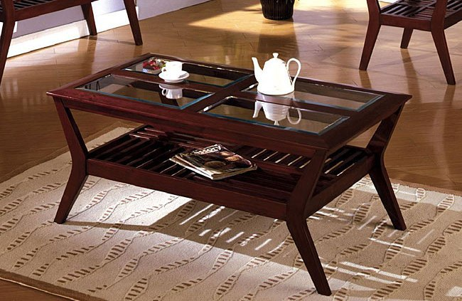 Dark Cherry Wood Coffee Table