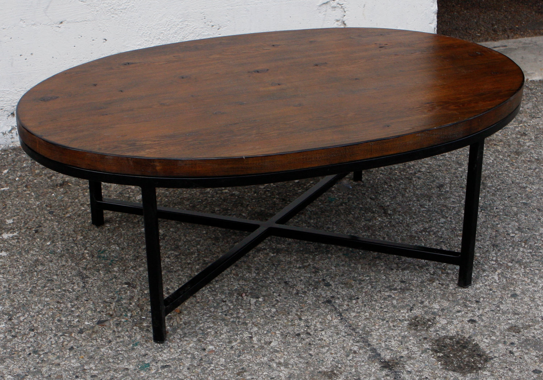 Dark Wood Coffee Table With Iron Base