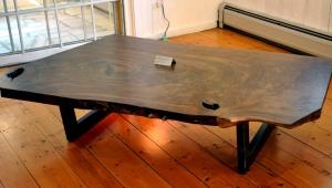 Dark Wood Slab Coffee Table