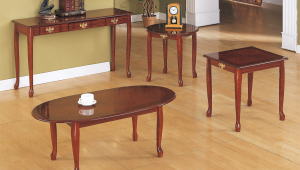 Elegant Cherry Wood Coffee Table Set