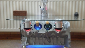 Engine Block Coffee Table With Bar