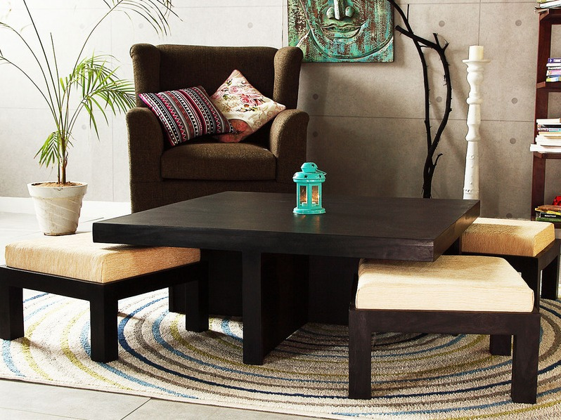 Espresso Coffee Table With Stools