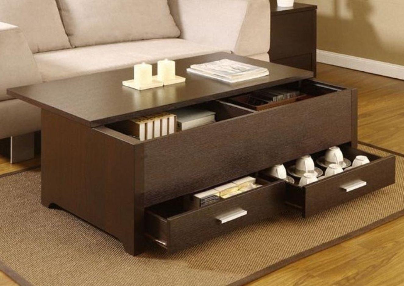 Espresso Coffee Table With Storage