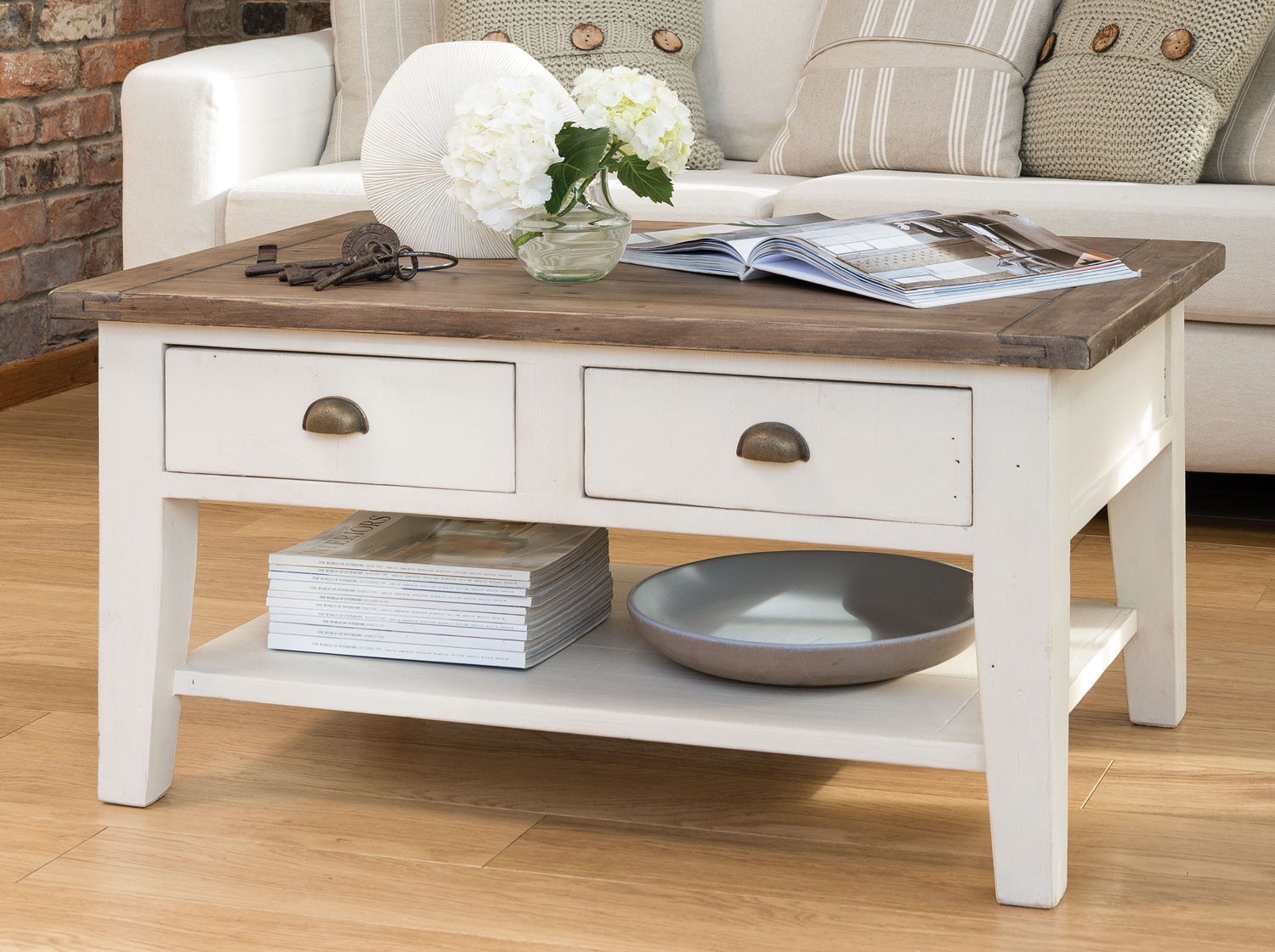 French Country Coffee Table With Two Drawers