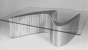 Futuristic Glass And Metal Coffee Table