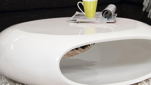 Futuristic White Lacquer Coffee Table