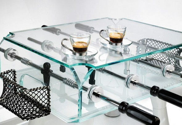 Glass Foosball Coffee Table
