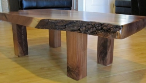 Glossy Wood Slab Coffee Table
