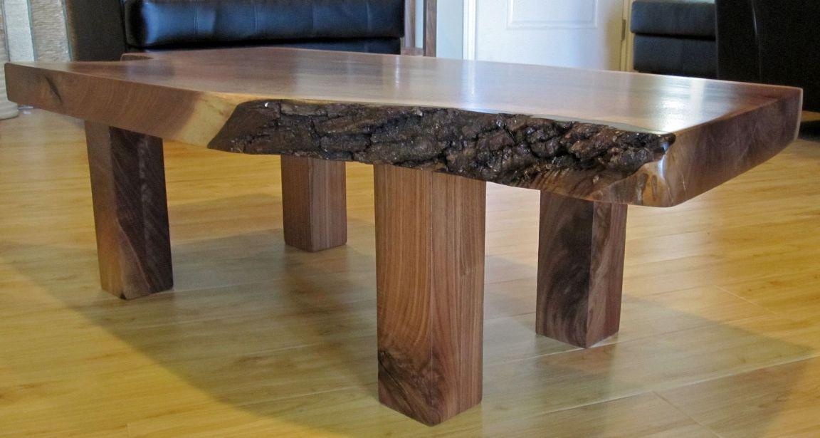 Glossy Wood Slab Coffee Table