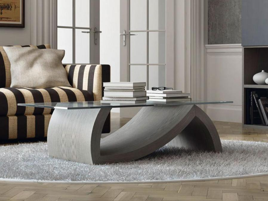 Grey Coffee Table With Glass Top And Wooden Base