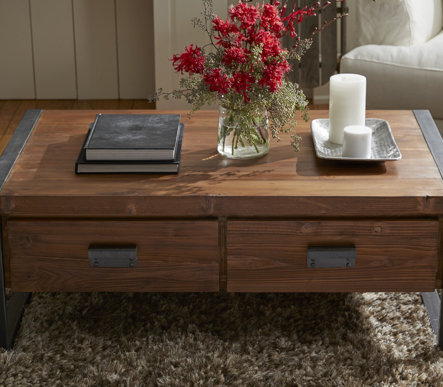 Industrial Coffee Table With Drawers