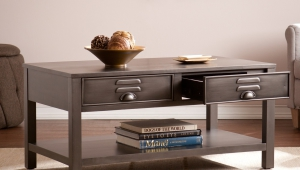 Industrial Coffee Table With Open Shelf