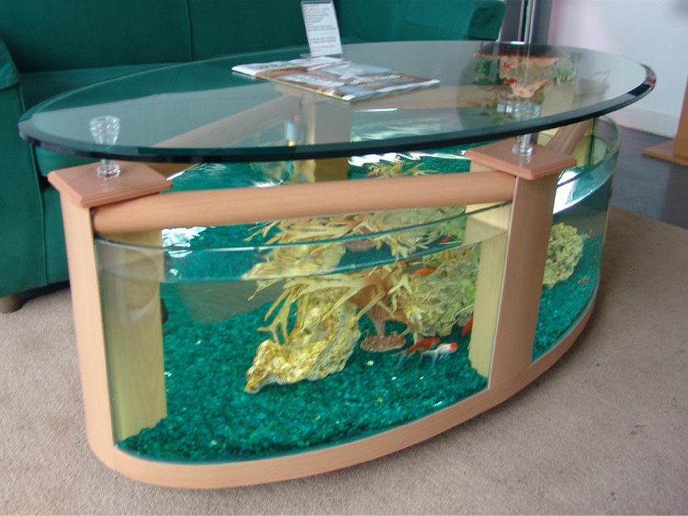 Large Aquarium Coffee Table With Use Of, Round Aquarium Coffee Table