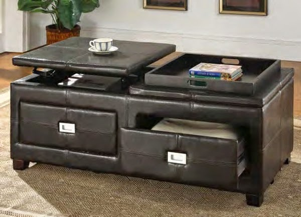 Leather Coffee Table With Drawers
