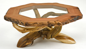 Log Coffee Table With Glass Insert