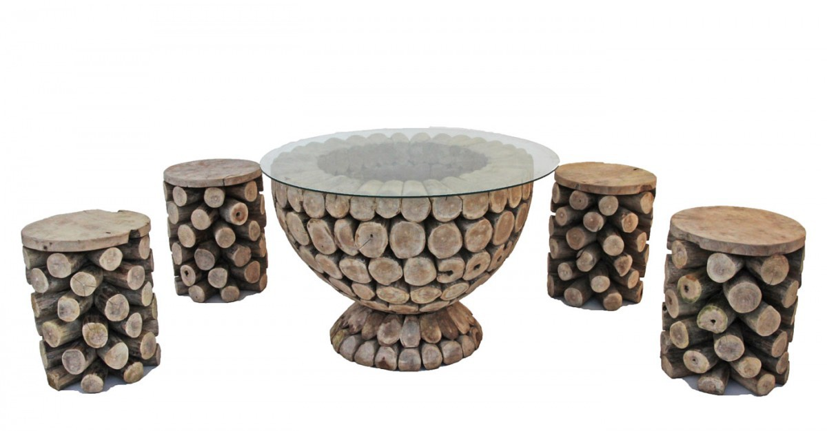 Log Coffee Table With Stools