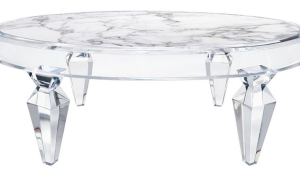 Lucite Coffee Table With Stone Inset Top