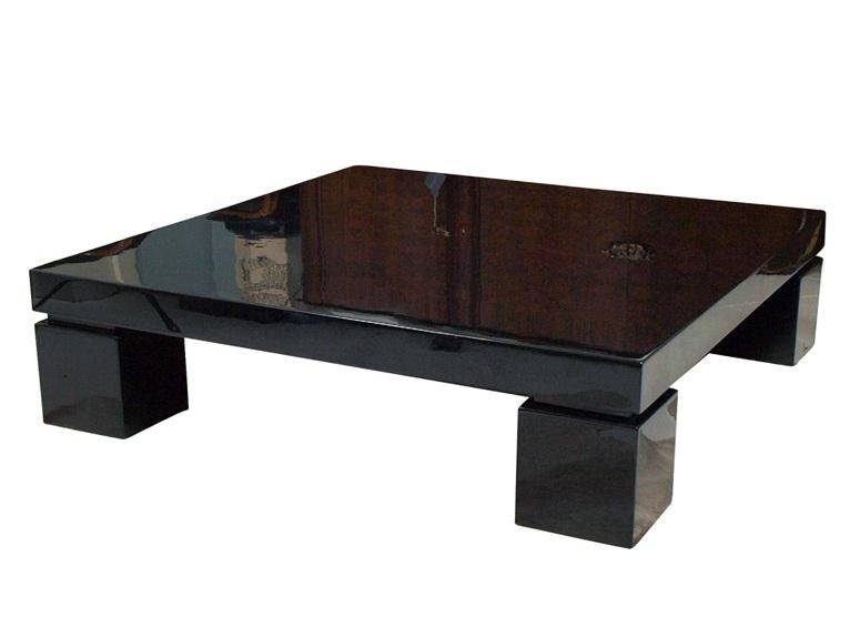 Massive Black Lacquer Coffee Table