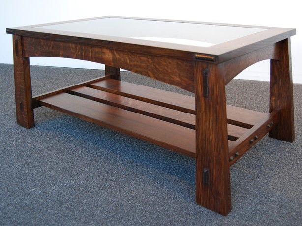 Mission Style Coffee Table With Glass Top