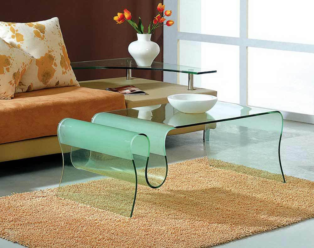 Modern Glass Coffee Table With Special Shelf