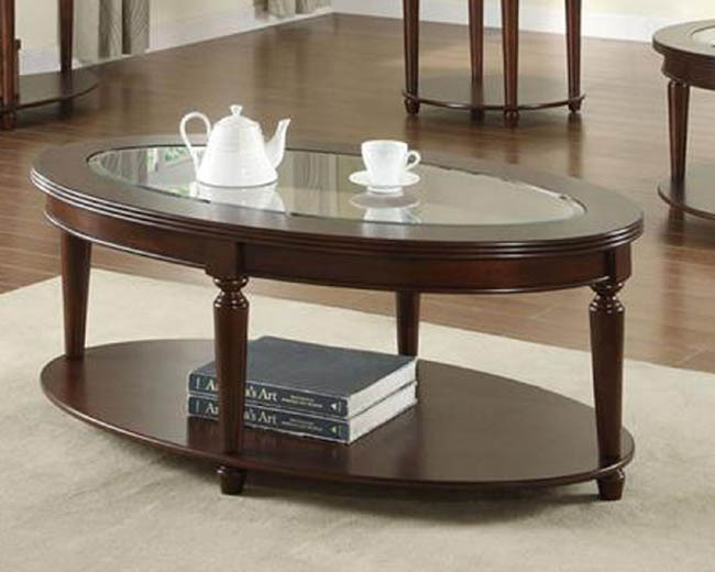 Oval Cherry Wood Coffee Table