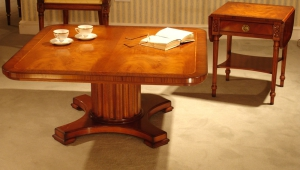 Pedestal Redwood Coffee Table