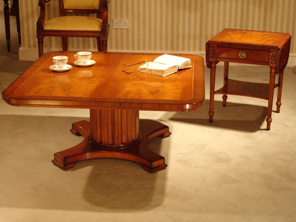 Pedestal Redwood Coffee Table