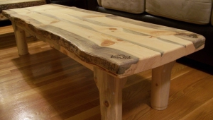 Pine Wood Slab Coffee Table