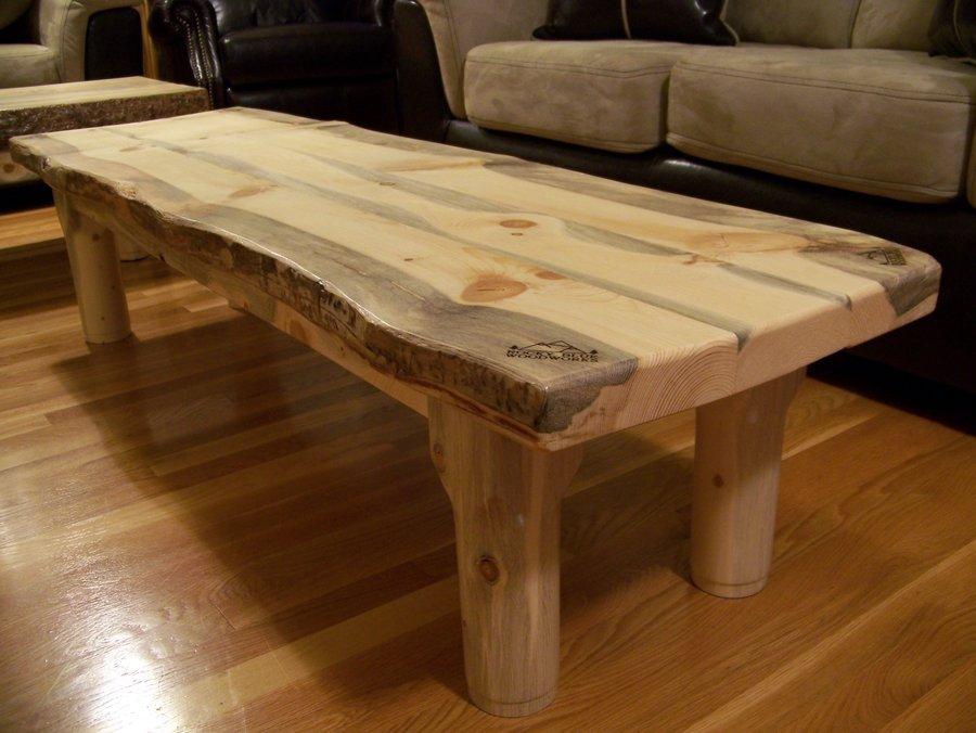 Pine Wood Slab Coffee Table