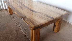 Polished Wood Slab Coffee Table